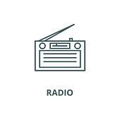 Radio,radioreceiver vector line icon, linear concept, outline sign, symbol