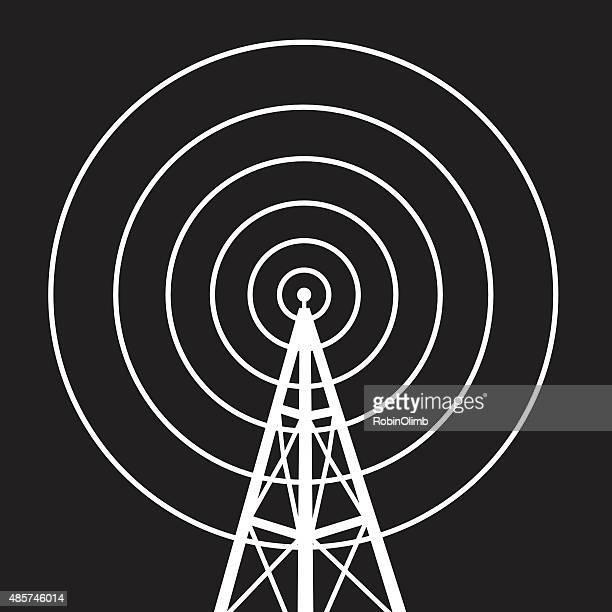 ilustraciones, imágenes clip art, dibujos animados e iconos de stock de radiotowericon - torres de telecomunicaciones