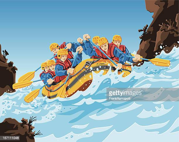rafting action - rapid stock illustrations