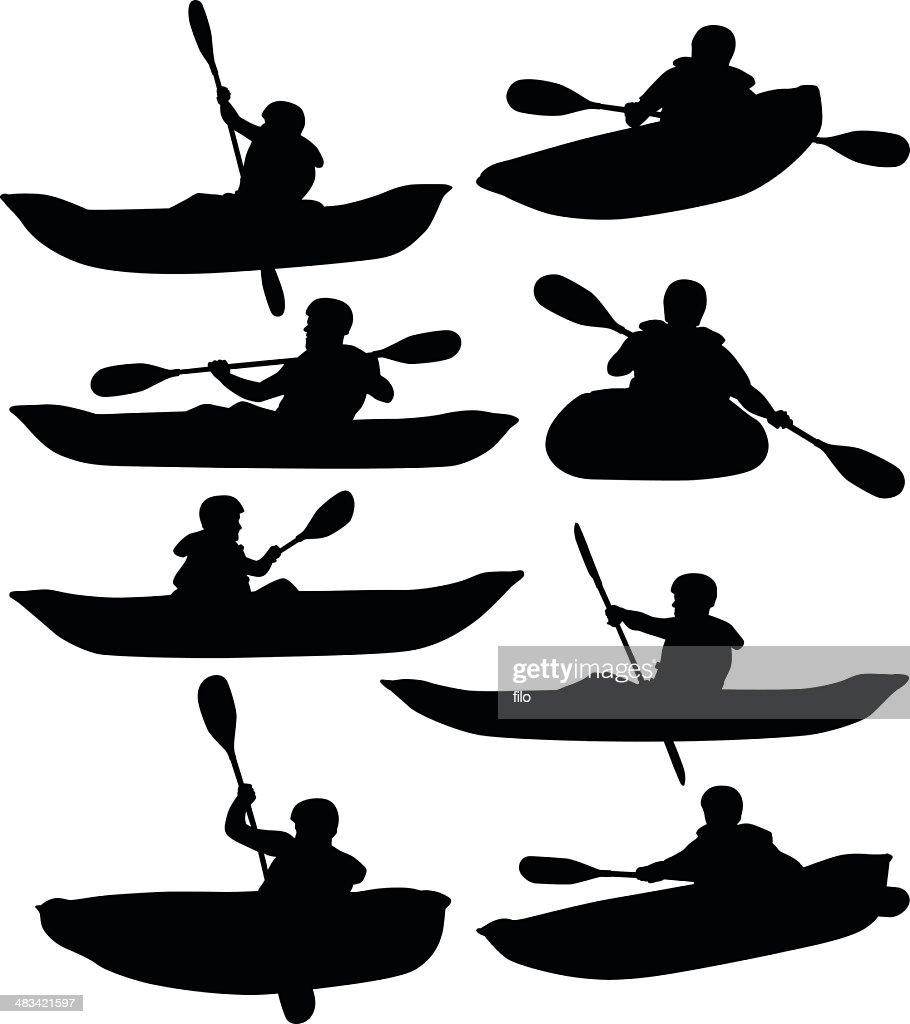Rafting And Kayaking Vector Art