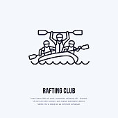 Rafting, kayaking flat line icon. Vector illustration of water sport - happy rafters with paddles in river raft. Linear sign, summer recreation pictograms for paddling gear store