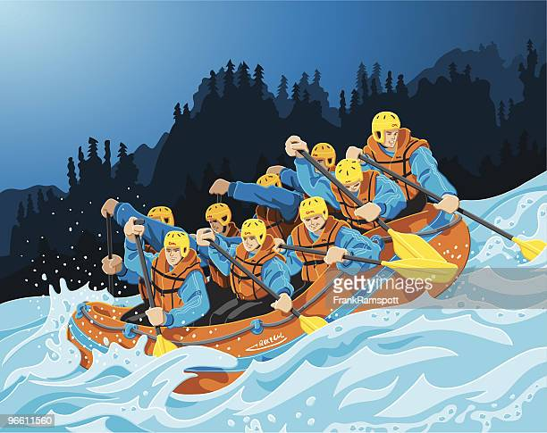 rafting trip - rapid stock illustrations