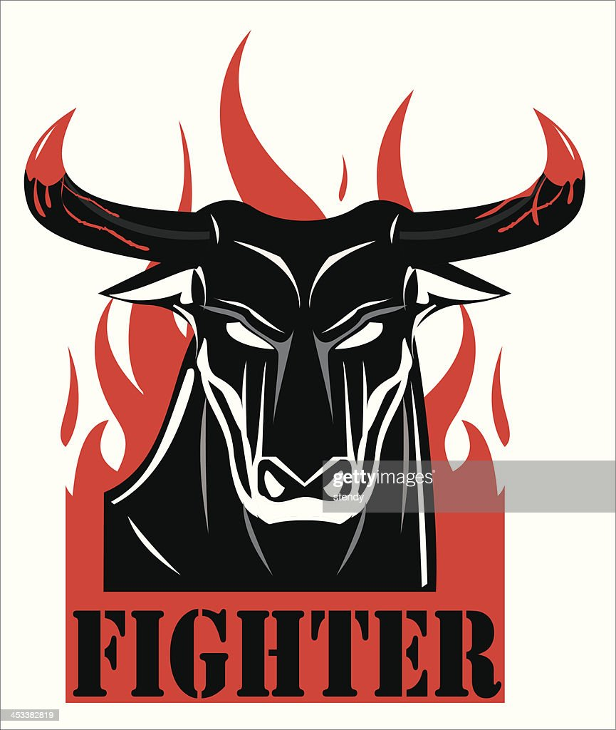 raging black bull with the bloody horn.