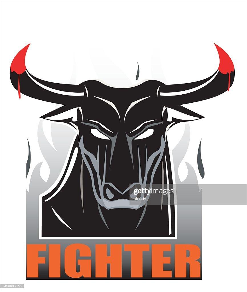 Raging Staring Black Bull over the Smoke