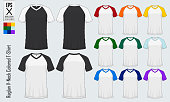 Raglan V-neck t-shirts templates. Set of colored sleeve jersey mockup in front view and back view for baseball, soccer, football , sportswear or casual wear. Vector