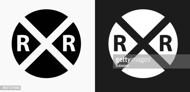 Rail Road Crossing Icon on Black and White Vector Backgrounds