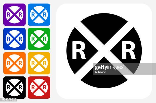 Rail Road Crossing Icon Square Button Set
