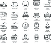 Rail transport Icons,  Monoline concept