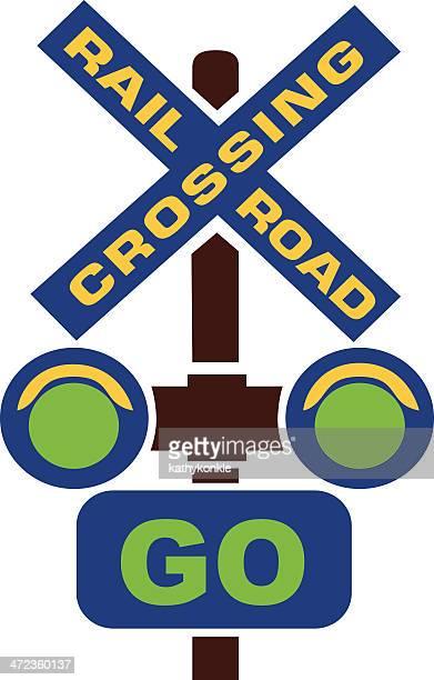 railroad crossing go sign - crossing sign stock illustrations, clip art, cartoons, & icons