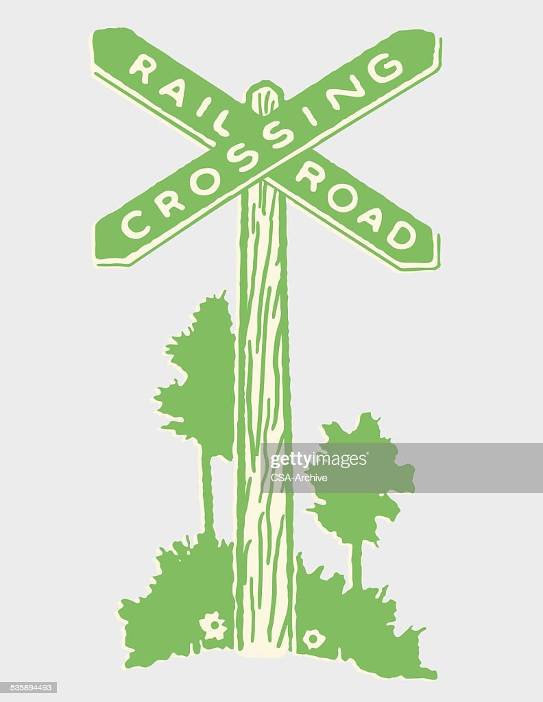 Railroad Crossing Sign : Vector Art