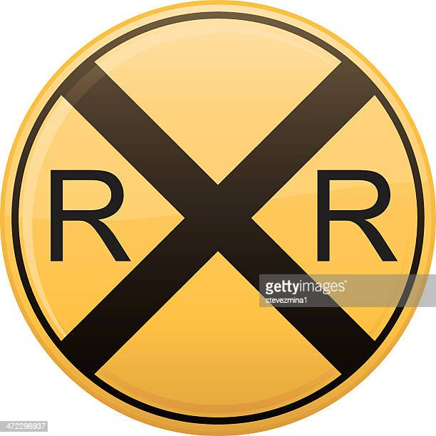 railroad crossing symbol - crossing sign stock illustrations, clip art, cartoons, & icons