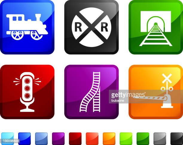 Railroad Crossing Warning royalty free vector icon set stickers