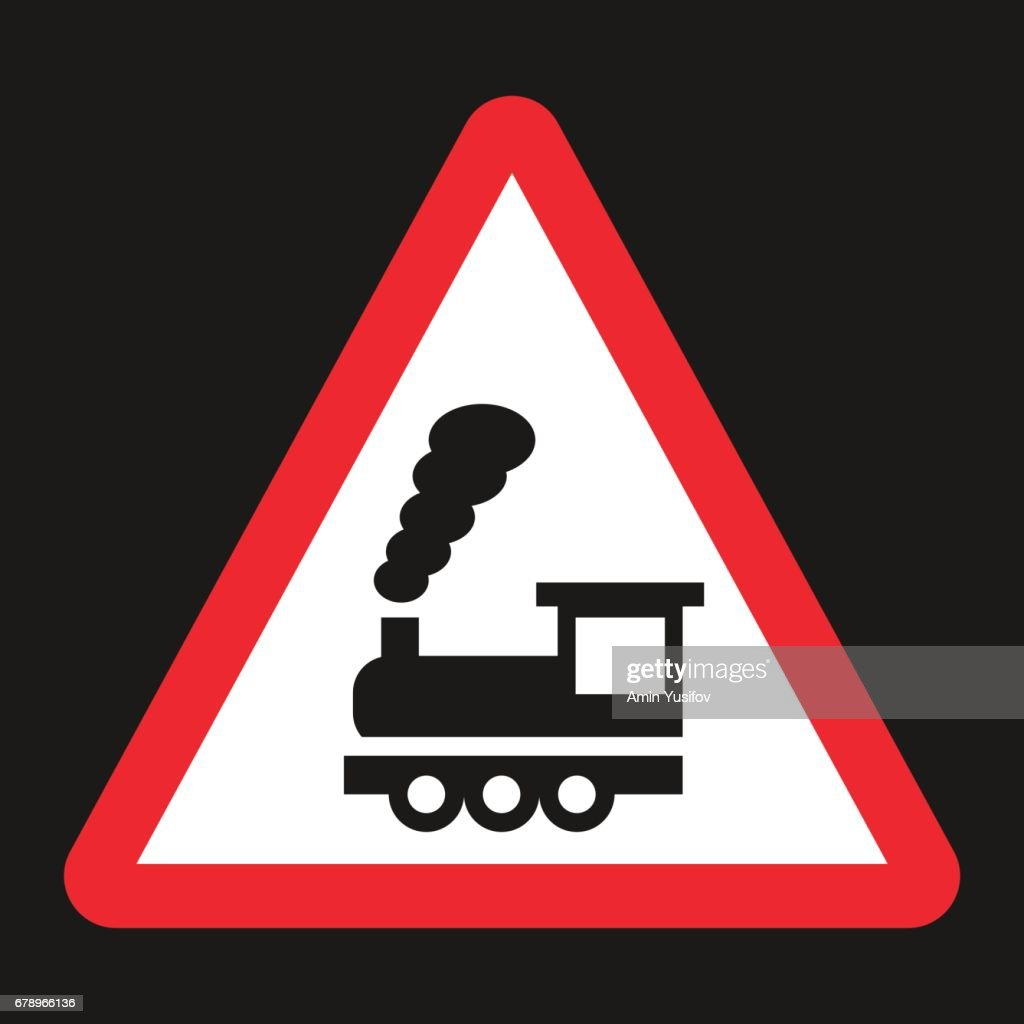 Railroad crossing without barrier sign flat icon