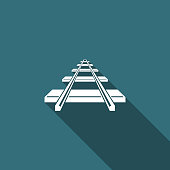 Railroad icon isolated with long shadow. Flat design. Vector Illustration