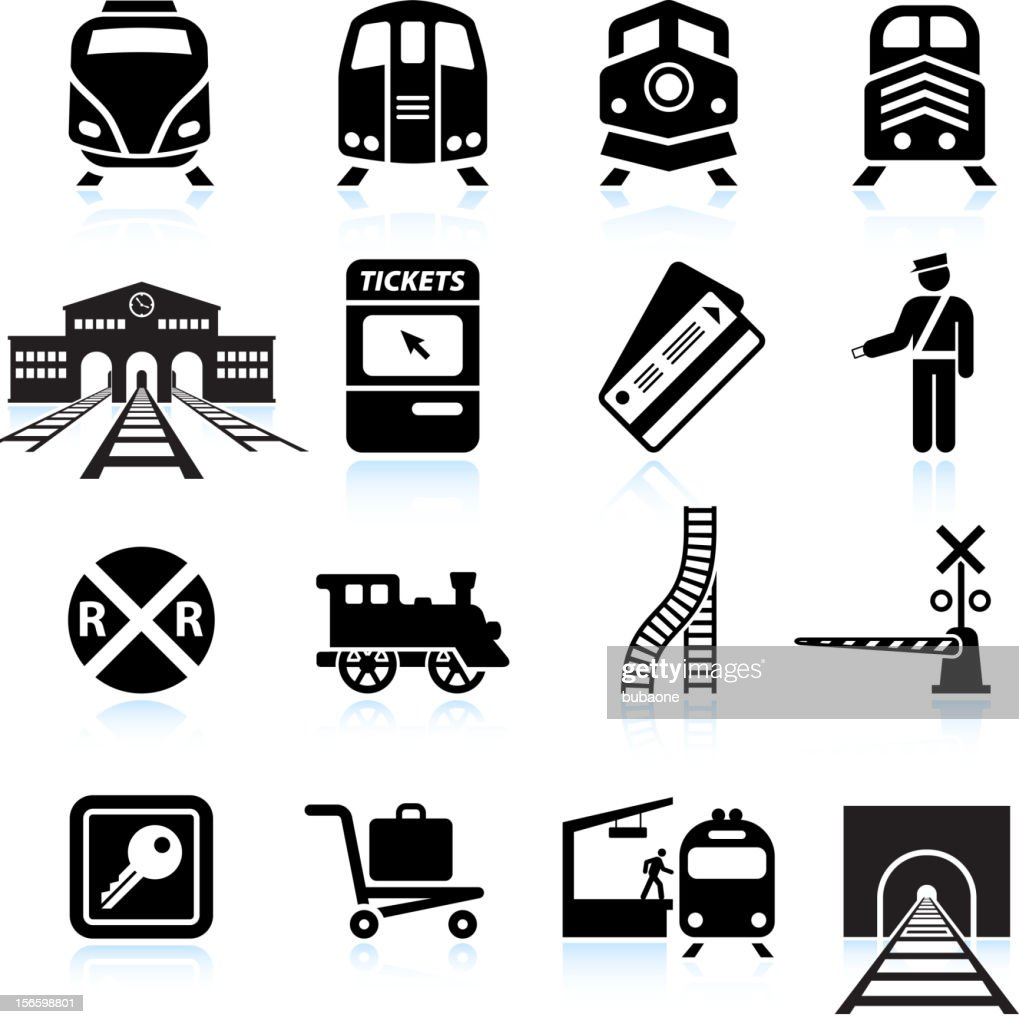 Railroad Station and Service black & white icon set : stock illustration