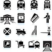 Railroad Station and Service black & white icon set