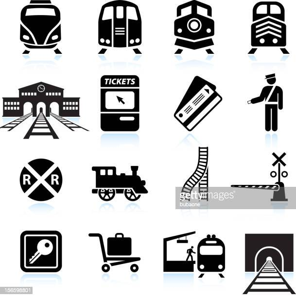 railroad station and service black & white icon set - railway station stock illustrations
