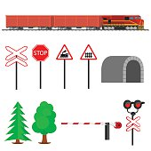 Railroad traffic way and train with cargo cars.