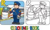Railroader coloring book. Alphabet R. Profession