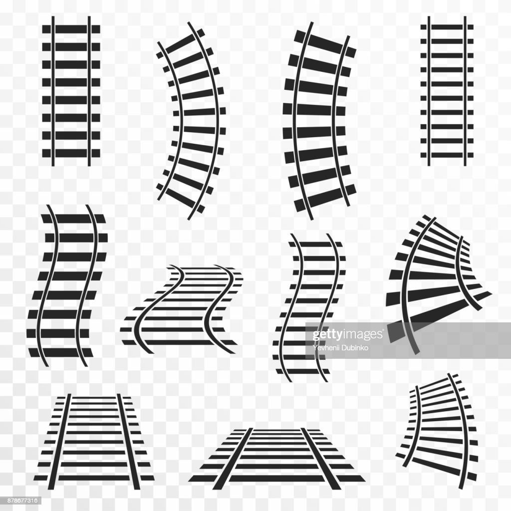 Rails set on transparent background. Straight and curved railroad tracks icon