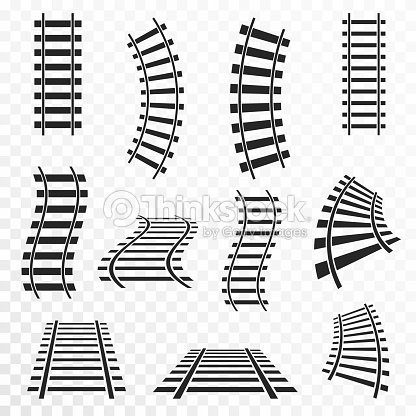 Rails Set On Transparent Background Straight And Curved ...