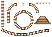 Railway, a set of railroad tracks. Rails and sleepers.