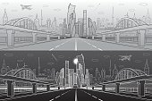 Railway bridge over wide highway. Urban infrastructure panorama, modern city on background, industrial architecture. Airplane fly. White lines illustration, day and night scene, vector design art