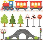 Railway design concept set with station steward railroad passenger toy
