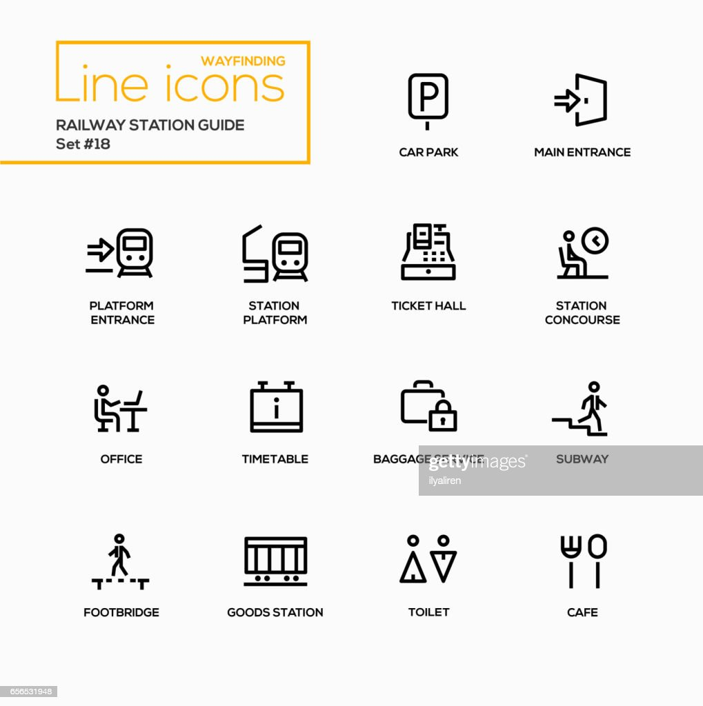 Railway Station Guide - modern vector single line icons set