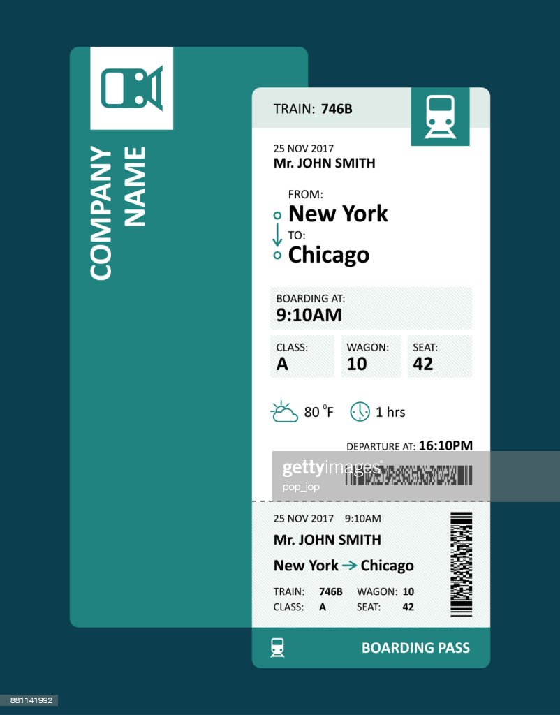 Railway Ticket Or Boarding Pass For Travelling By Train Vector
