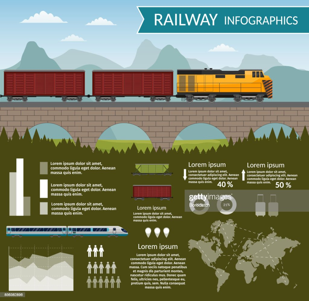 Railway train transportation infographic vector background