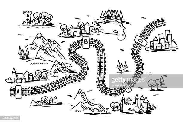 Railway Trip Map Drawing