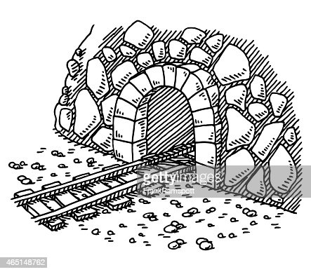 Railway Tunnel Entrance Drawing Vector Art | Getty Images