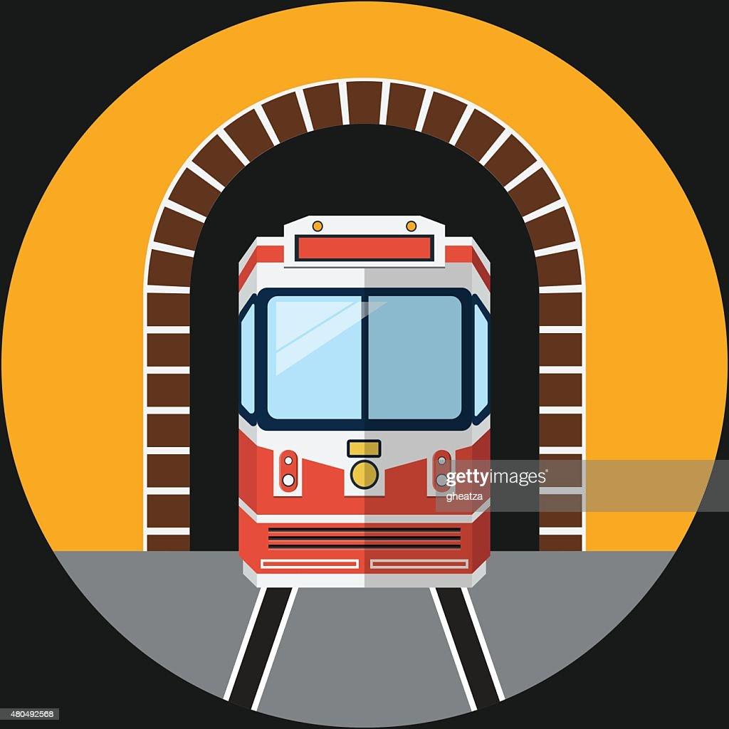 Railway Tunnel .Vector Flat Illustration