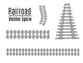 Railway vector template. Set of railroads isolated