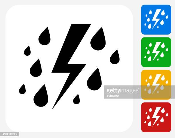 rain and thunder icon flat graphic design - grave stock illustrations, clip art, cartoons, & icons