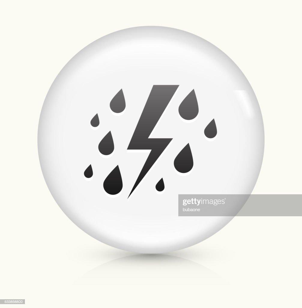 Rain And Thunder Icon On White Round Vector Button Vector Art