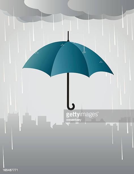 illustrazioni stock, clip art, cartoni animati e icone di tendenza di pioggia e ombrello - cielo minaccioso