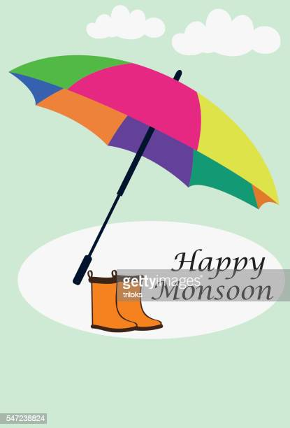 rain boots and umbrella - monsoon stock illustrations, clip art, cartoons, & icons
