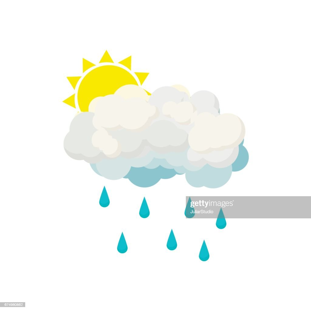 Rain cloud and sun icon, cartoon style