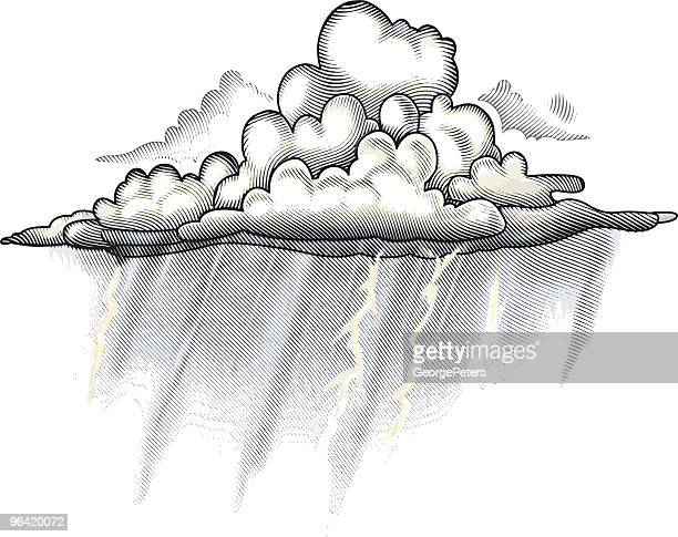 regen cloud gravur illustrationen - sturm stock-grafiken, -clipart, -cartoons und -symbole