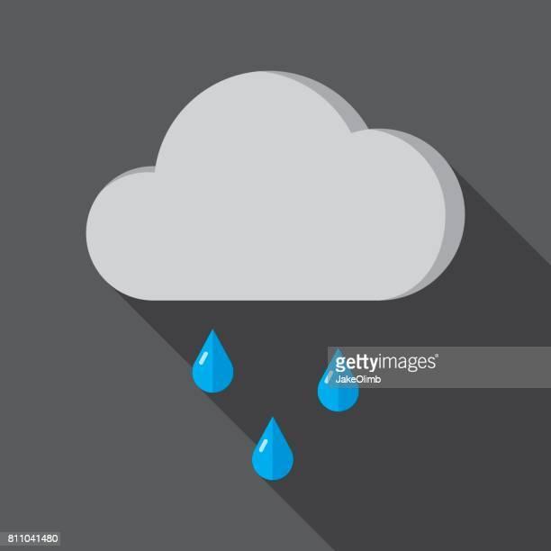rain cloud icon flat - splashing droplet stock illustrations, clip art, cartoons, & icons