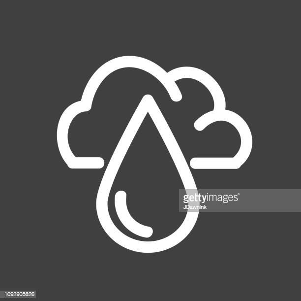rain cloud with water drop weather flat simple outline design icon - rainy season stock illustrations, clip art, cartoons, & icons