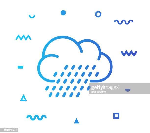 Rain Clouds Line Style Icon Design