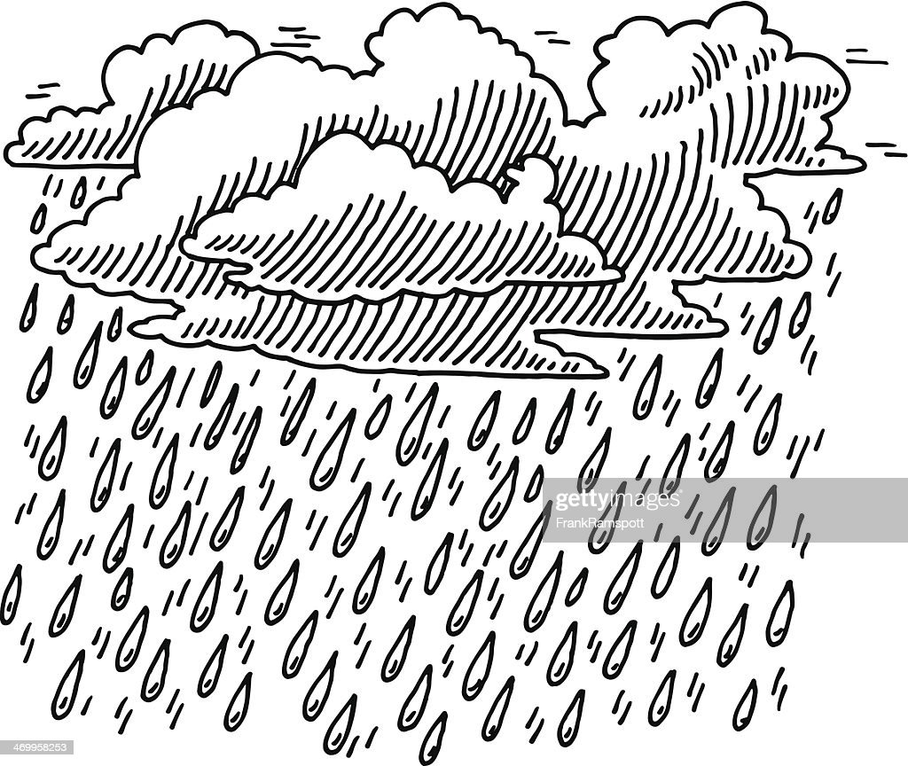 Regen Wolken Himmel malen : Stock-Illustration