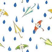 Rain drops and umbrella seamless pattern. Hand drawn vector illustration.