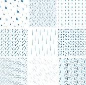Rain drops pattern vector set