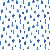 Rain drops seamless pattern. Hand drawn vector illustration.