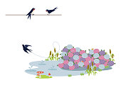 Rain falling in the pond. Illustration of the rainy season. Creatures on the borderline. A landscape that is raining. Natural landscape. Image of the landscape of the rainy season.