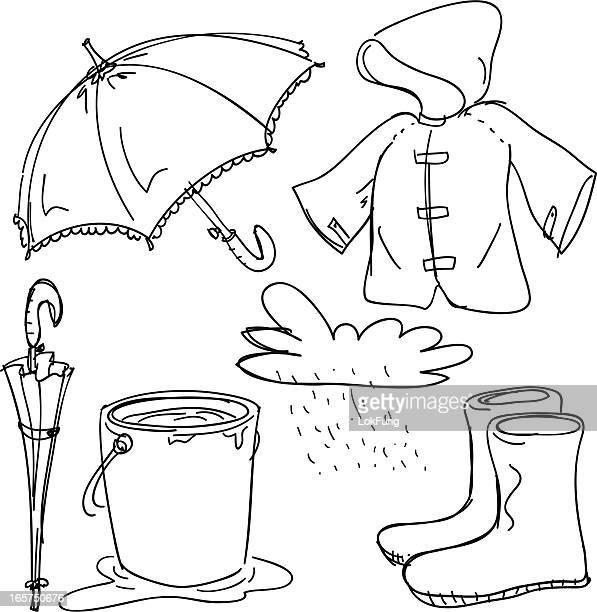 rain gear collection - bucket stock illustrations, clip art, cartoons, & icons